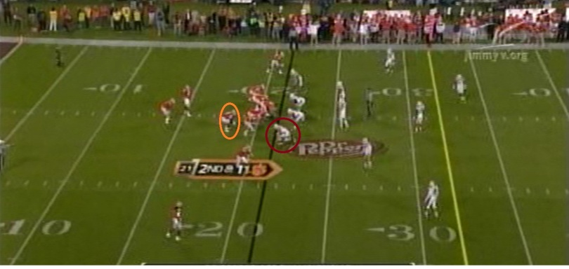 Allen stays in to pass protect with a one-on-one assignment with the DE from an 11-personnel, 1x2 receiver, pistol set deep in their own territory.