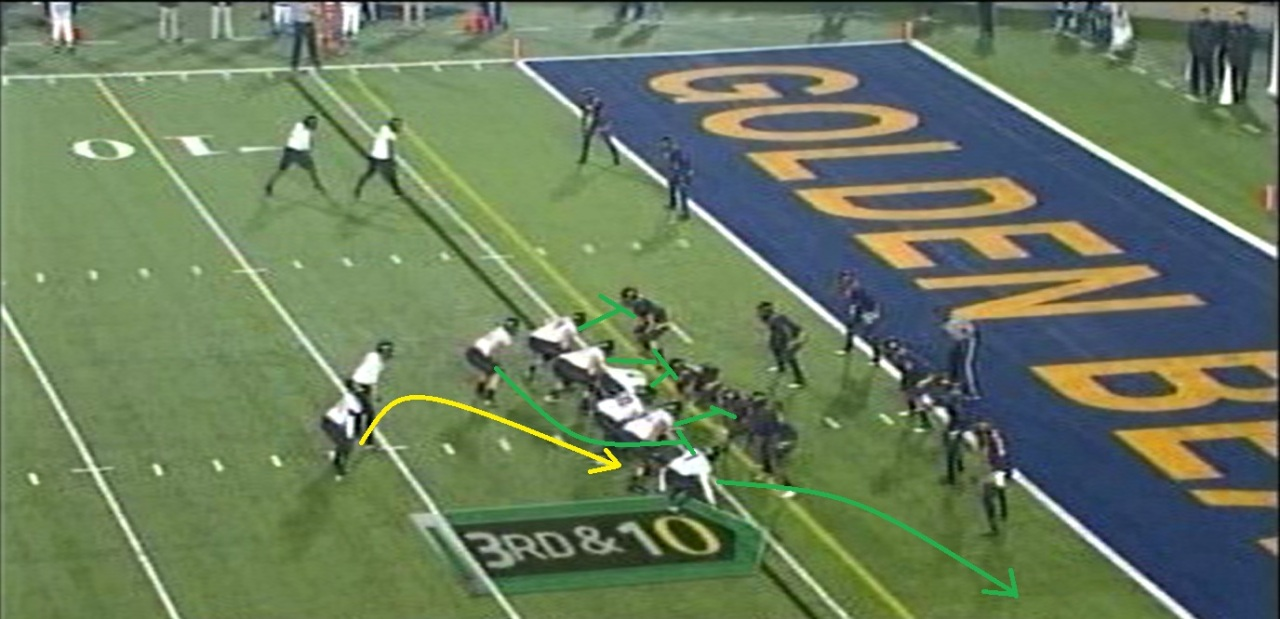 This is a wind-back play run from a pistol set. The New Orleans Saints loved running this play with Pierre Thomas behind Heath Evans a couple of years ago, but from a traditional offset I-formation set.