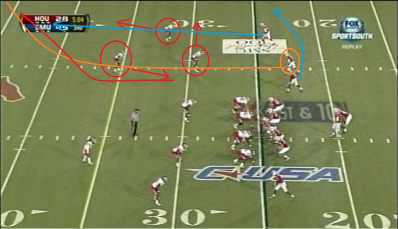 Johnson is the middle receiver on the trips side and runs a corner route to the right sideline.