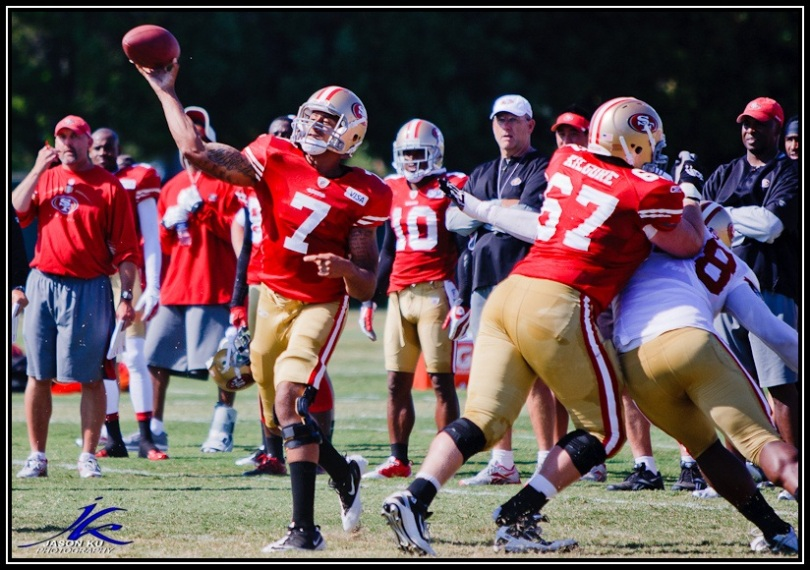 Is E.J. Manuel along a similar path as Colin Kaepernick? Coudl be.  Photo of Colin Kaepernick by Jason Ku Photography.