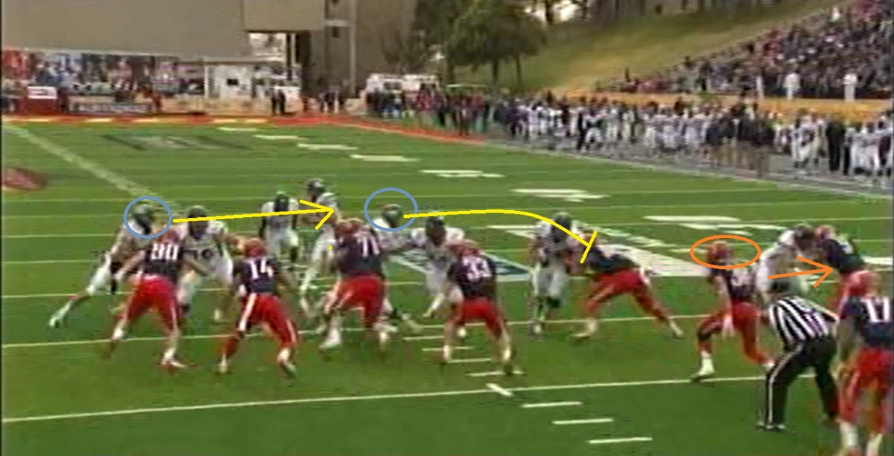 No.38 takes one step outside to cover the gap outside left guard.