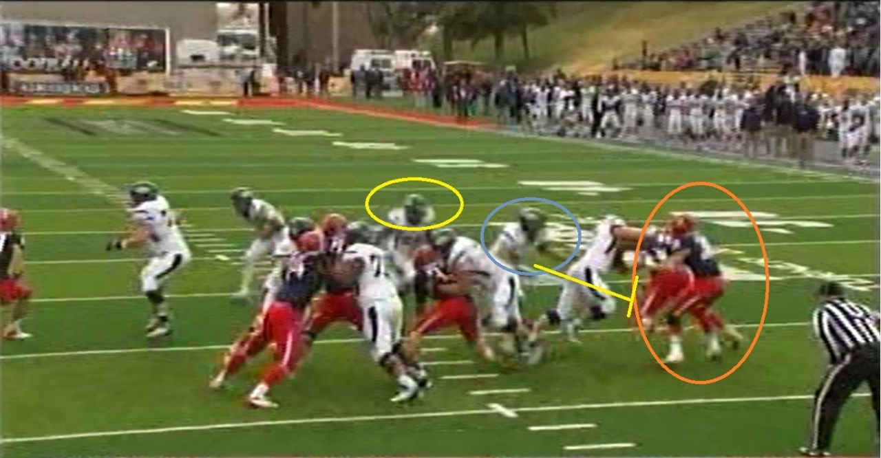 Once the LB hops back to the inside because of his read of the RB, he's looking headlong into that 255 lb. freight train.
