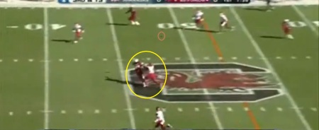Cunningham has inside position as the ball arrives. It doesn't look like a lot of separation, but you'll see soon why this is an NFL-caliber play.