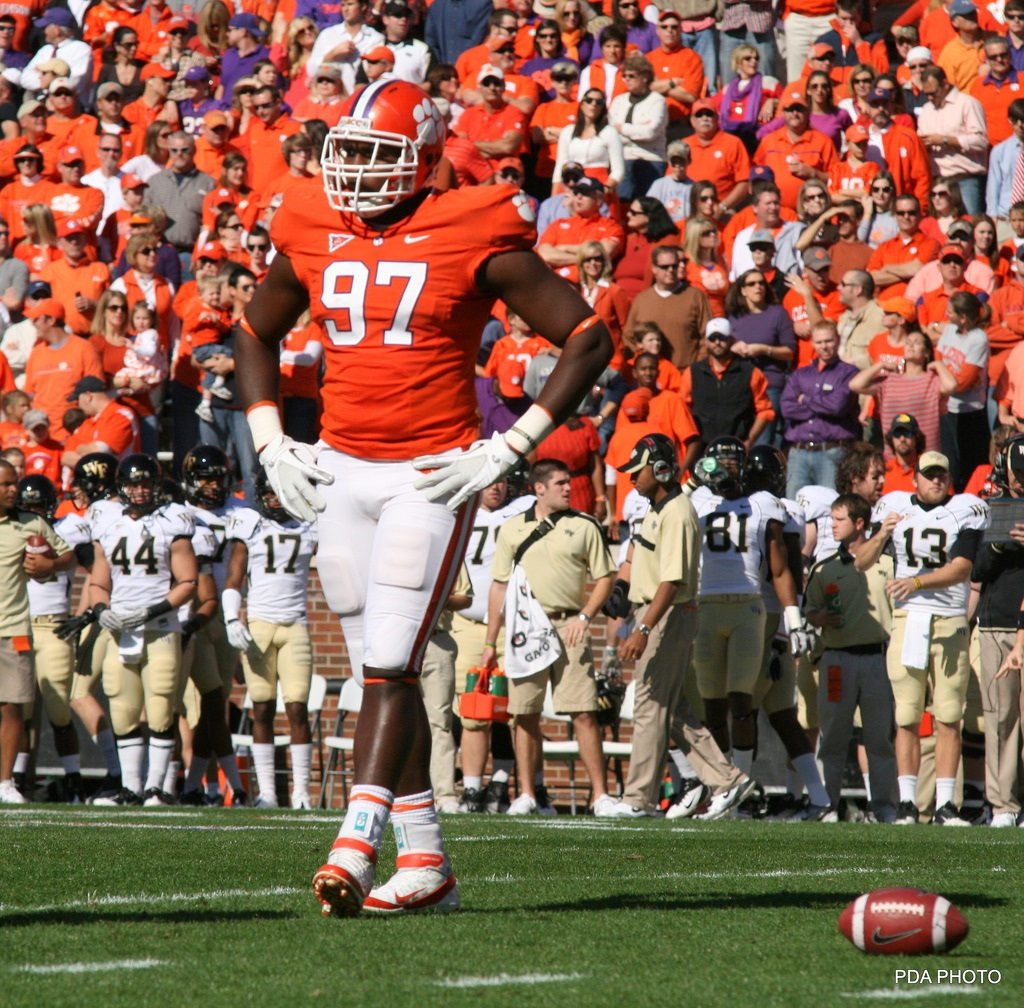 Clemson defensive tackle Malliciah Goodman has condor-like (thanks Jene-Bramel), 87.68-inch wingspan. But can he play? Photo by Parker Anderson.