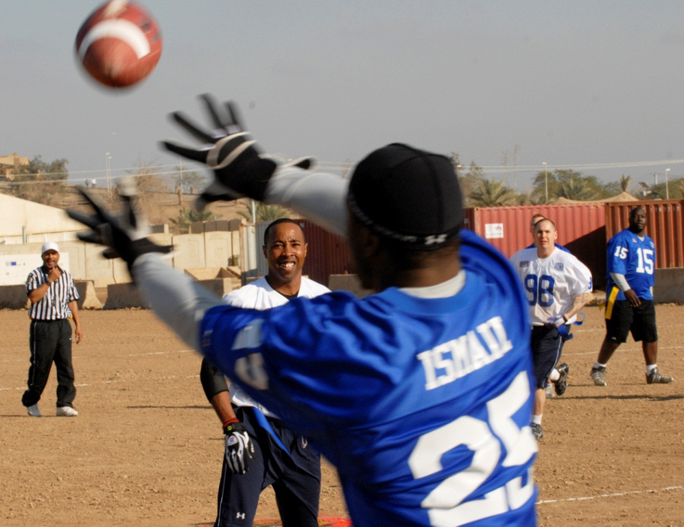 Here's the example of Raghib Ismail attacking the football with good hand position. Photo by Joint Base Lewis McCord.