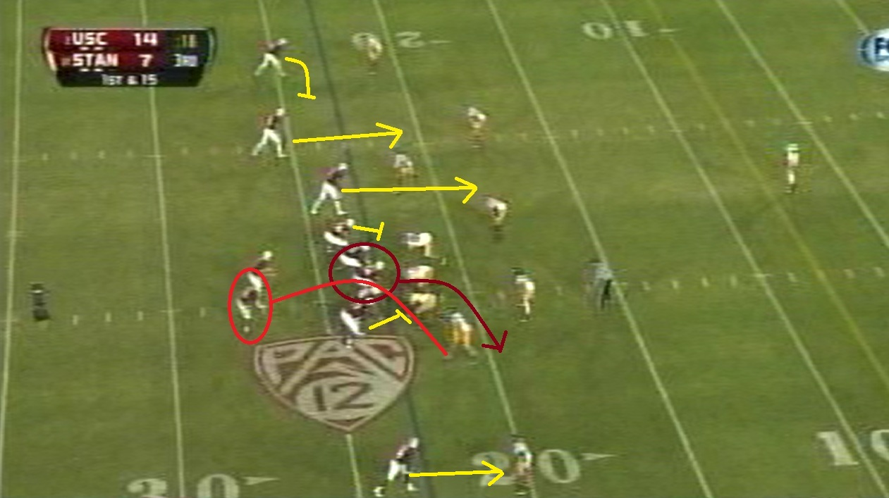 The two guards and center are the three linemen who will lead Taylor on this screen while the tackles pass block the edges.