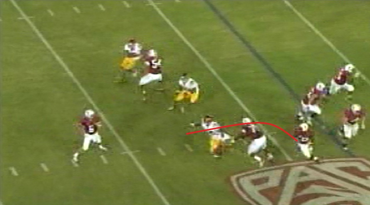 Note Taylor already has his head around before the quarterback is even halfway through his release.