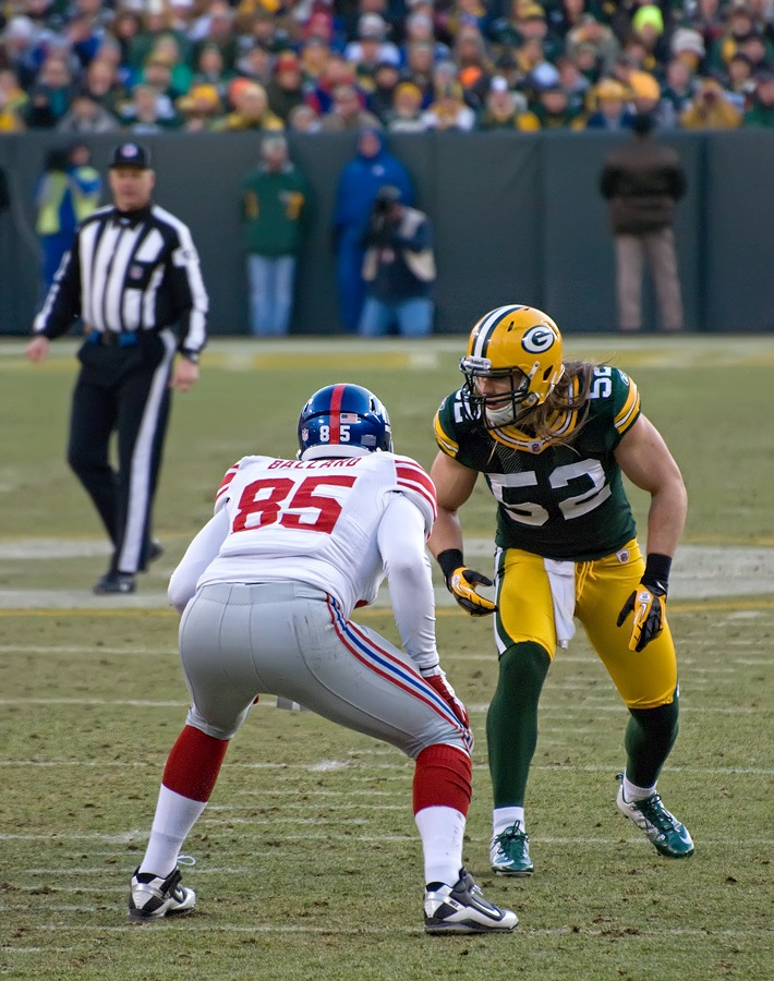 Mike Tanier opts for one of the premier edge rushers in the league with Clay Matthews as his first pick. Photo by Mike Morbeck.