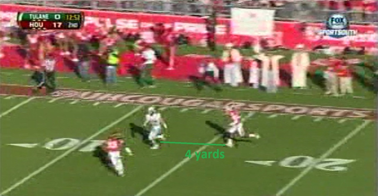 Griffin's receiver has great vertical separation on the corner. The lack of horizontal separation from the center fielder is Griffin's doing.