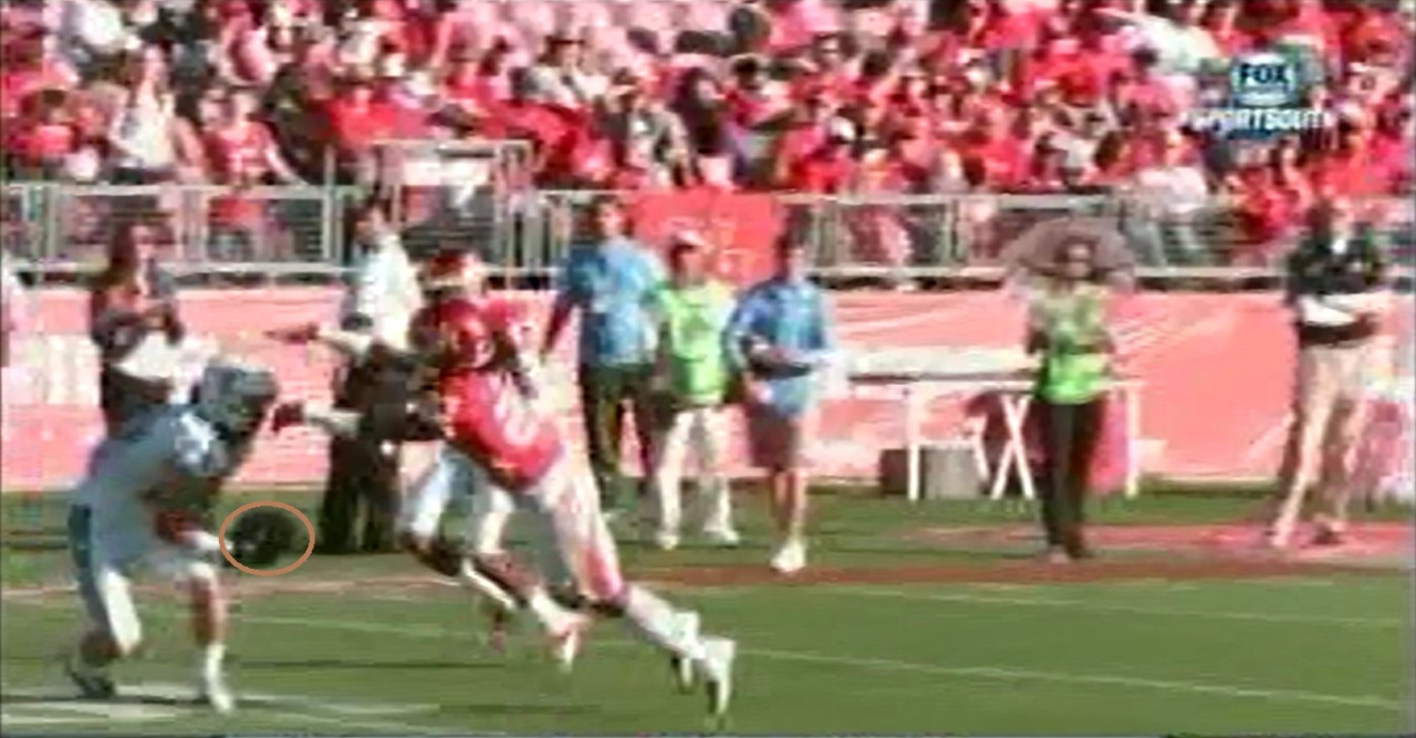 The receiver should have caught this pass, but the quarterback should have made the catch uncontested.