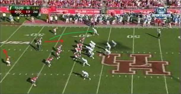 On the next play, Houston rotates his safeties in the opposite direction, opening the slant behind the defender creeping up.