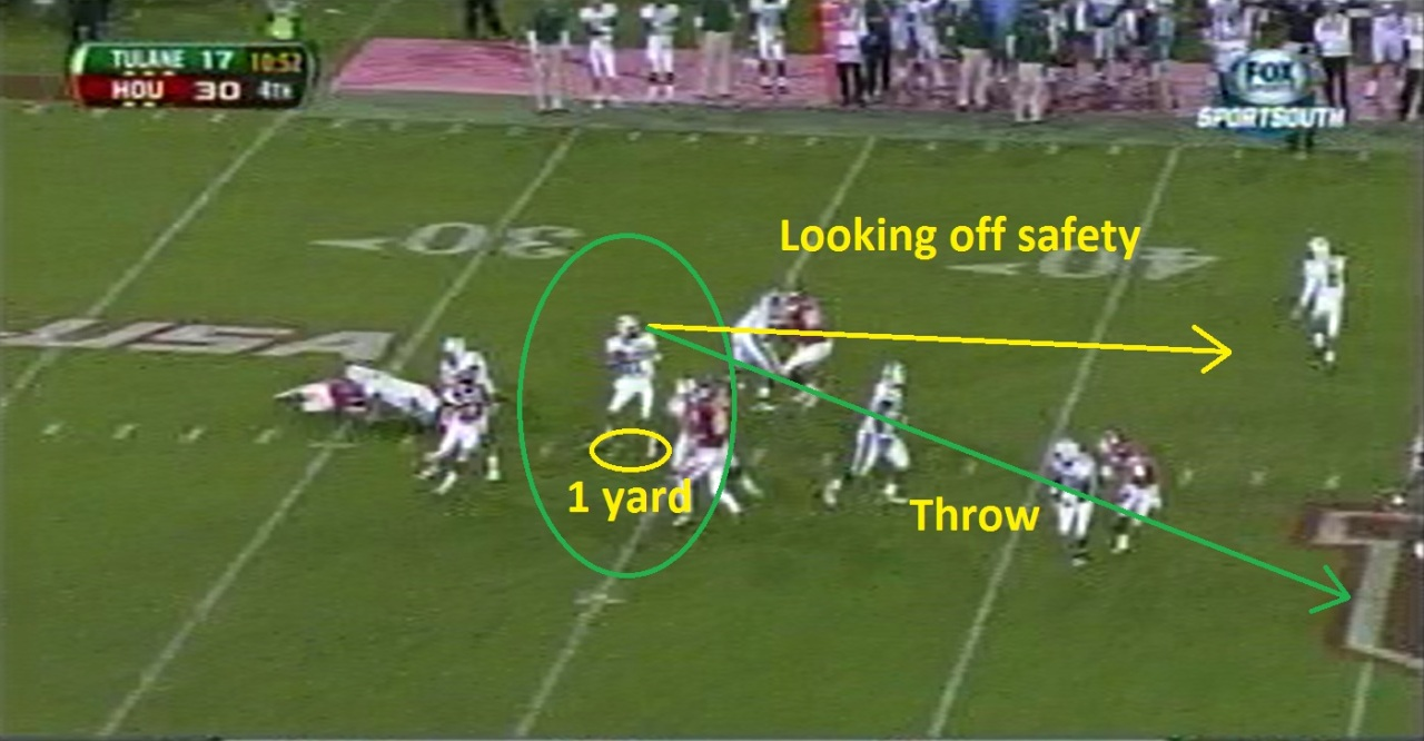 Griffin looks off the safety and has his feet under him to execute a good throw.