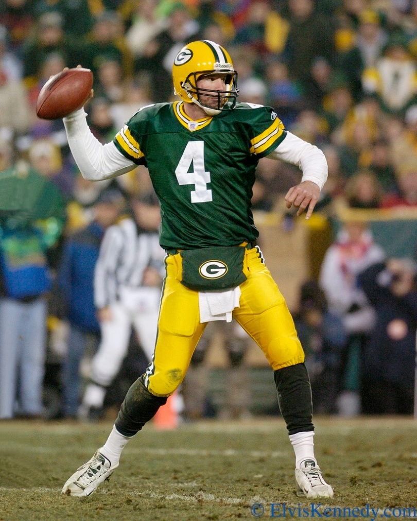 If there's a player who looked Career Death in the eye multiple times and matured, but still was far from a perfect professional and role model, Favre tops the list. Photo by Elvis Kennedy.