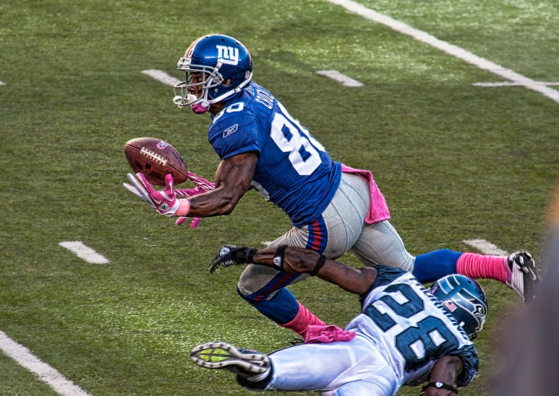 Receptions verus contact heighten my attention to a player's potential. Photo of Victor Cruz by Kat Vitulano