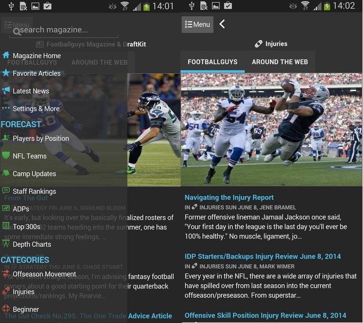 The Footballguys Magazine App is out. Worth well more than $4.99. This is the Android screen shot. Apple shots below.