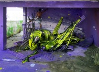 Portuguese artist Bordalo II  is using mounds to trash to create art in Lisbon. Photo by  Bordalo II.