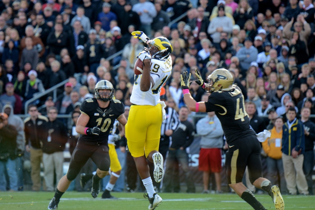 Devin Funchess is a heralded prospect, but is he the culprit behind this incomplete pass? You vote. Photo by MGoBlog.