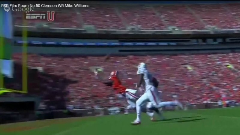 The Rookie Scouting Report Film Room uses game tape to determine Clemson WR Mike William's Skills & NFL Draft Stock